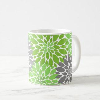 Taza De Café Estampado de flores verde y gris de los