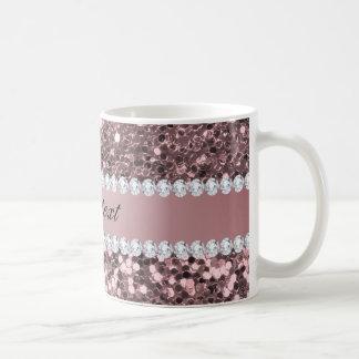 Taza De Café Falso brillo y diamantes del oro color de rosa de