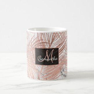 Taza De Café Falso mármol color de rosa moderno de la hoja de