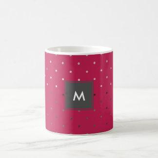 Taza De Café falso modelo de lunares color de rosa minúsculo