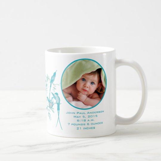 Taza De Café Familia linda del colibrí de la foto del bebé