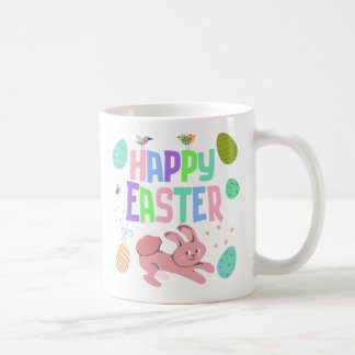 Taza de café feliz colorida de Pascua