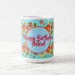 Taza De Café Feliz cumpleaños, Naranja acuática, mujeres de ama