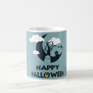 Taza De Café Feliz Halloween con la luna y el cementerio