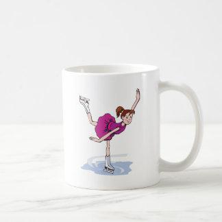Taza De Café figura linda giro de la niña del patinador