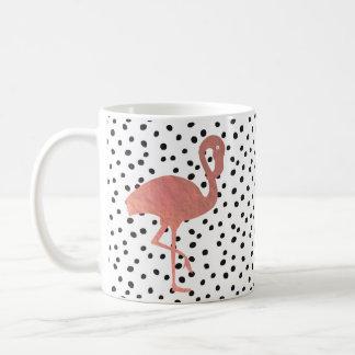 Taza De Café flamenco color de rosa del oro en modelo de puntos