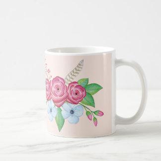 """Taza De Café Flor bonita Bouque de la acuarela de la """"buena"""