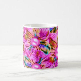 Taza De Café Flores rosadas cosidas extracto