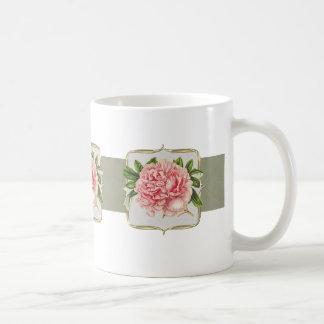 Taza De Café Flores rosadas del vintage