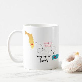 Taza De Café Florida & Puerto Rico Home is Where Mom is