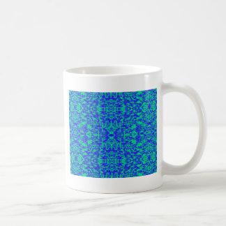 Taza De Café Fractal abstracto en azul y verde