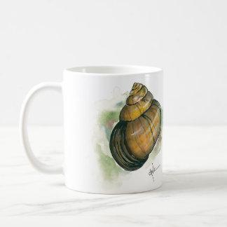 Taza De Café Frente interno del caracol y acuarela trasera