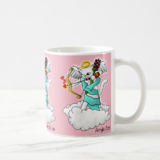 Taza De Café Gato blanco como la nieve del Cupid del el día de