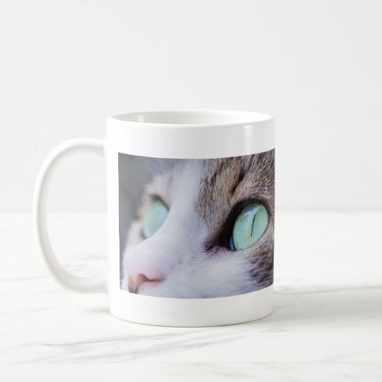 Taza De Café Gato de tigre gris de ojos verdes magnífico