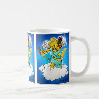 Taza De Café Gato del Cupid del amarillo del jengibre del el