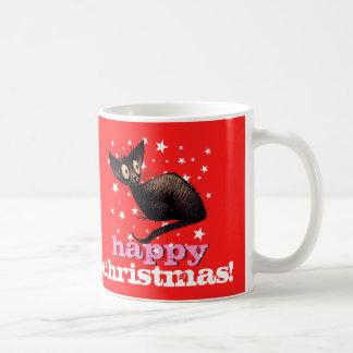 Taza De Café ¡Gato negro oriental de las felices Navidad!