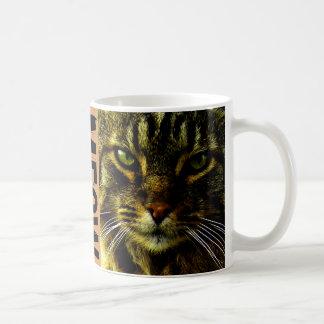 Taza De Café Gato que hipnotiza maullido de la foto de los ojos
