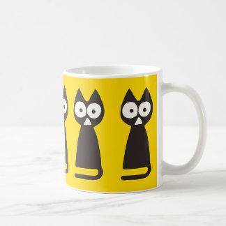 Taza De Café Gato simbólico del triángulo negro amarillo