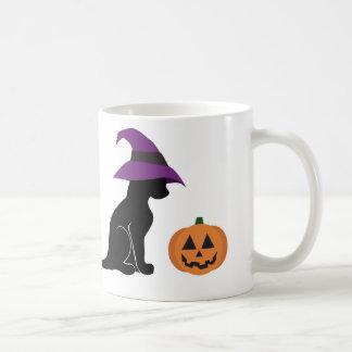 Taza De Café Gato y calabaza de la bruja de Halloween