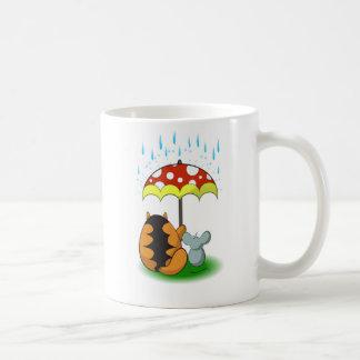 Taza De Café Gato y ratón, amistad y paraguas
