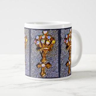 Taza De Café Gigante Corona y cruz Jeweled