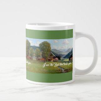 Taza De Café Gigante Dios de la corriente del prado de las montañas le