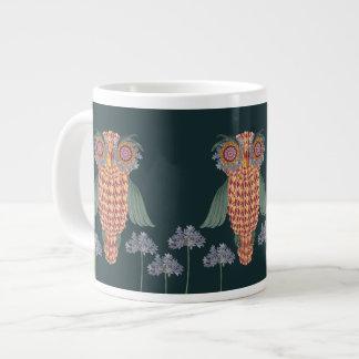 Taza De Café Gigante El búho de la sabiduría y de las flores
