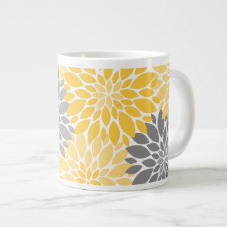Taza De Café Gigante Estampado de flores amarillo y gris de los