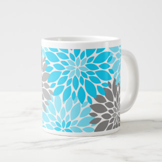 Taza De Café Gigante Estampado de flores azul y gris de los crisantemos