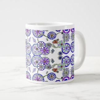 Taza De Café Gigante Floral azul del café de la sopa del cereal de la