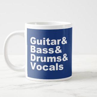 Taza De Café Gigante Guitar&Bass&Drums&Vocals (blanco)