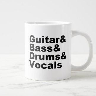 Taza De Café Gigante Guitar&Bass&Drums&Vocals (negro)