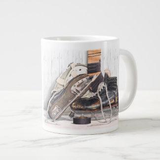 Taza De Café Gigante Jumbo del patín del portero del hockey del vintage