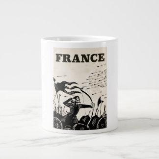 Taza De Café Gigante Poster del viaje del vintage de Francia. coche