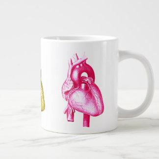 Taza De Café Gigante Tenga un corazón: Arte pop colorido de la anatomía