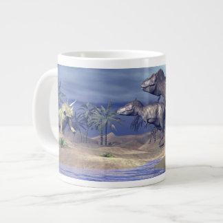 Taza De Café Gigante Triceratops que ataca del Tyrannosaurus - 3D