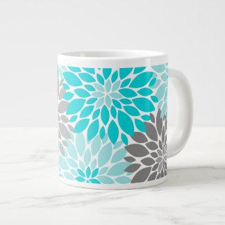 Taza De Café Gigante Turquesa y estampado de flores gris de los