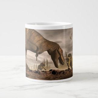 Taza De Café Gigante Tyrannosaurus que ruge en el triceratops - 3D