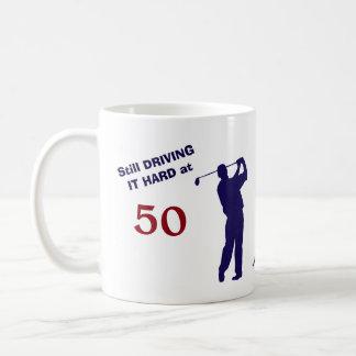 Taza De Café Golfista del cumpleaños 50