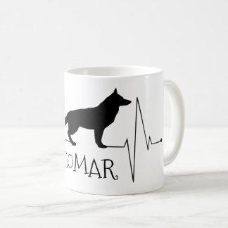 Taza De Café Golpe de corazón personalizado del perro del amor