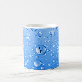 Taza De Café Gotas de lluvia metálicas cones monograma del azul