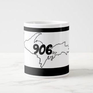 Taza De Café Grande 906er Michigan U.P. Jumbo Mug - negro/blanco
