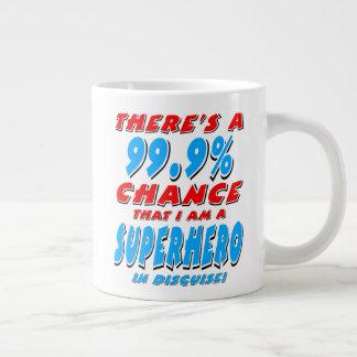 Taza De Café Grande 99,9% Soy un SUPER HÉROE (el negro)