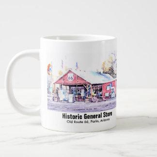 Taza De Café Grande Acuarela histórica de la tienda general de Arizona