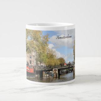 Taza De Café Grande Amsterdam, canal, puente, casa flotante, chapitel
