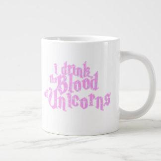 Taza De Café Grande Bebo la sangre de los unicornios Frappe divertida