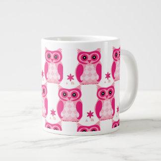 Taza De Café Grande Búho rosado de moda