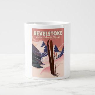 Taza De Café Grande Columbia Británica de Revelstoke, poster del esquí