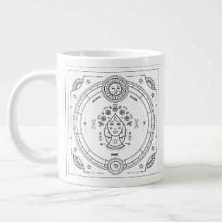 Taza De Café Grande Cumpleaños del personalizado del zodiaco del virgo