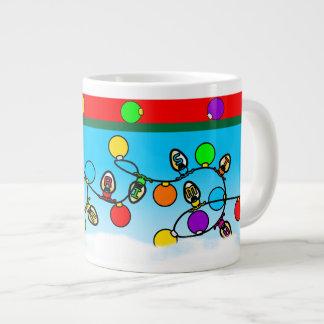 Taza De Café Grande Diseño de las bombillas de las Felices Navidad